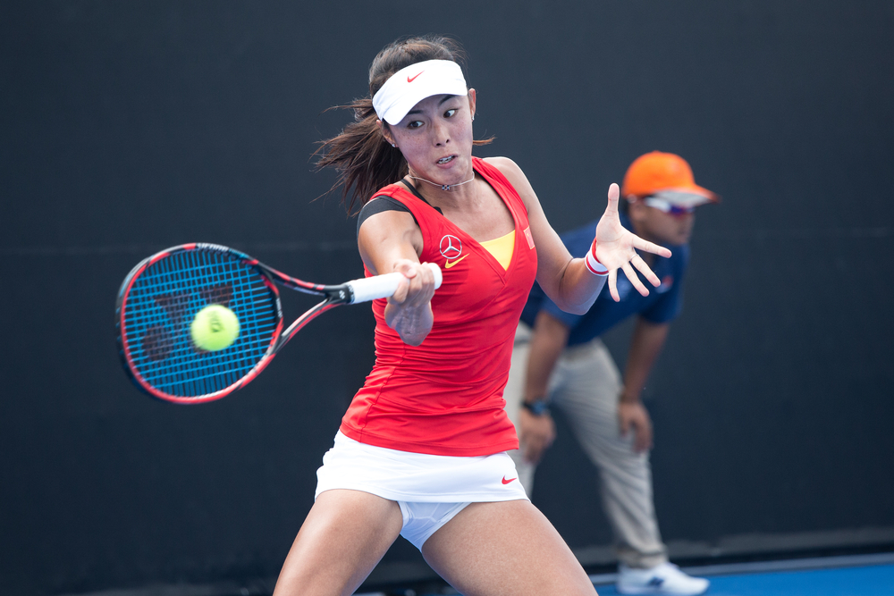Qiang Wand during a FED Cup Match against Thailand, Photo: Mai Techaphan, Shutterstock
